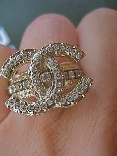 Chanel Gold Swarowski Crystals Band Ring