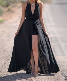 1de68e5ad856 Black Halter Maxi Romper All Black Business Casual Outfits