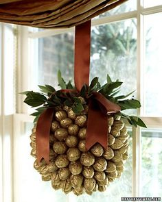 """Walnut Ornament, instructions and video showing how to make it.  Large for a window display, starts with an 8"""" styrofoam ball.  So stunning!..."""