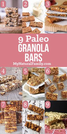 9 of The Best Paleo Granola Bars Recipes - prep ahead of time and grab and go in the morning or for snacks from My Natural Family http:/. Paleo Granola Bars, Granola Barre, Paleo Bars, Paleo Brownies, Paleo Granola Recipe, Paleo Protein Bars, Chocolate Brownies, High Protein, Paleo Recipes Easy