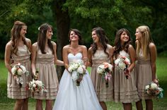 champagne bridesmaids' dresses.