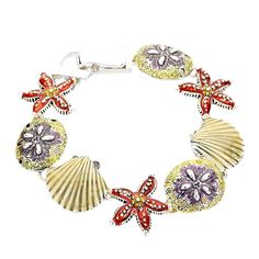 Sea Life Star Fish, Sea Shell and Sand Dollar, Magnetic Bracelet -- Remarkable product available now. : Jewelry Bracelets