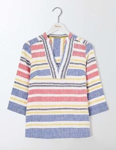 #Boden Rosemary Top Multi Stripe Women Boden, Multi #Staying cool and looking stylish just got easier with this throw-on-and-go top. With a relaxed cut in soft, 100% linen, its super comfortable to wear. Weve even added stripes, so you can bring a bit of the Riviera home with you.