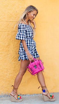 Gingham off-shoulder dress + colorful tassel wedge heels and pink purse