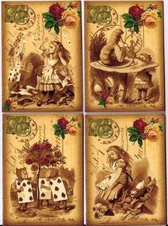 Image 1  Vintage Alice in Wonderland small post card tags ATC altered art set of…