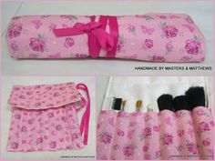 Make-up Brush Storage Roll - Pink Rose - The Supermums Craft Fair
