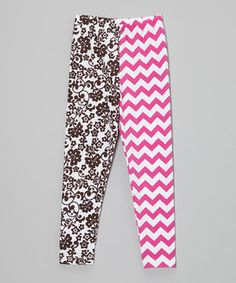 Look at this #zulilyfind! Fuchsia & Cocoa Zigzag Floral Leggings - Infant, Toddler & Girls by  #zulilyfinds
