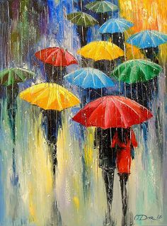 Rain by Olha Darchuk Oil painting on Canvas Subject People and portraits Impressionistic style One of a kind artwork Signed on the front Ready to hang Size 60 x 80 x 2 cm unframed 23 62 x 31 5 x 0 79 in unframed Materials oil Umbrella Painting, Rain Painting, Umbrella Art, Oil Painting Flowers, Painting People, Acrylic Painting Images, Acrylic Painting Canvas, Abstract Canvas Art, Painting Abstract