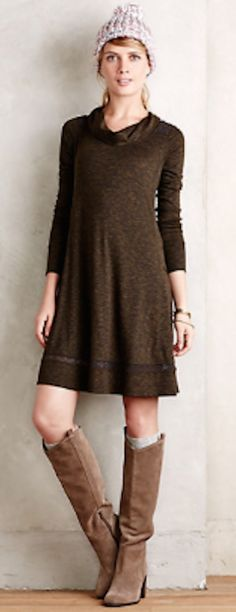 perfect fall outfit from the dress to the boots! #anthrofave http://rstyle.me/n/q7eqrr9te
