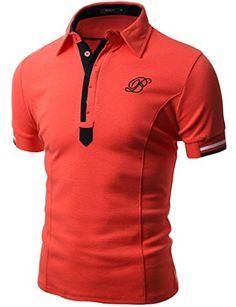 2eea62d238b Doublju Mens Unique Comfortable Regular Fit Big Size Short Sleeve Polo T- shirt ORANGE