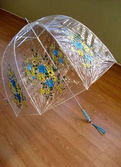 Vintage 1960s Flower Power Bubble Umbrella Parasol Blue Yellow Daisies 201424
