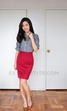 Blue oxford and red pencil skirt3
