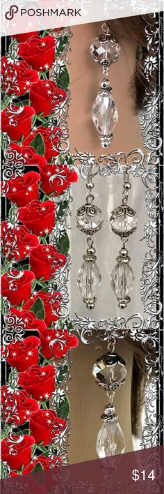 🌺🌴🌺 GLAMOROUS CRYSTAL EARRINGS 🌺🌴🌺 🌺🌴🌺 These handmade crystal earrings are spectacular for the most formal occasion.  The facets shimmer non stop.  The clear crystals are separated with silver caps and spacers. 🌺🌴🌺 Fashion Flair Jewelry Earrings