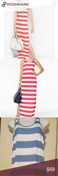 """MICHAEL Michael Kors Maxi Pack you bags & when you arrive, DON'T BE AFRAID TO slip into this MICHAEL Michael Kors Striped Double slitted Jersey Maxi.  Brought three wore 1, gave 1 to daughter for Caribbean trip & this 1 remains.  IMHO it can be worn as is by those 5'6"""" & over.  If you are less than 5'6"""" you may opt to jazz her up with a belt or sash.  Very comfortable & sexy.  Never worn Btw it's blue & white.  The others are spoken for🤗😍😙💋🤗 MICHAEL Michael Kors Dresses Maxi"""