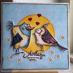 """""""Sidste pip fra mig idag  #crazybirds #cardmaking"""""""