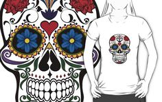 Floral happy sugar skull  t-shirts for women and men by mrhighsky at redbubble