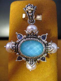 Barbara Bixby Turquoise Doublet Iolite Pearl Enhancer Pendant SS 18K | eBay