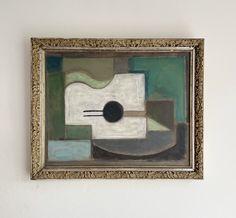 Cubist Composition – hellethygesen.com Cubist Paintings, Antique Frames, Denmark, The Outsiders, Composition, Mid Century, Christian, Antiques, Art