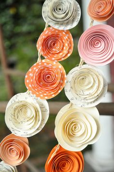 Wedding Garland Paper Flowers Orange Ivory Peach by lillesyster, $120.00