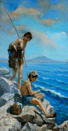 Piccoli pescatori nel Golfo - Opera d'arte di Giuseppe  Acierno