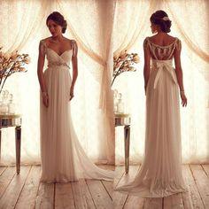 Elegant V Neck Anna Campbell Wedding Dresses Cap Sleeve 2014 Women Bridal Gowns Open Back vestido de noiva-in Wedding Dresses from Apparel &...