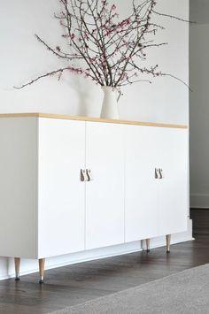 Ikea Ivar cabinet turned mid century buffet - Ikea DIY - The best IKEA hacks all in one place Ikea Ivar Cabinet, Ikea Cabinets, Kitchen Cabinets, Ikea Sideboard Hack, Modern Cabinets, Living Room Cabinets, Wall Cabinets, Sideboard Cabinet, White Cabinets