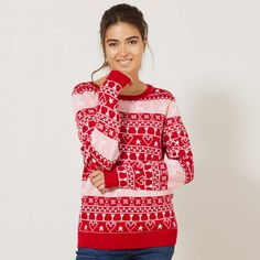 Pullover stampa di Natale Donna - rosso - Kiabi - 20,00€