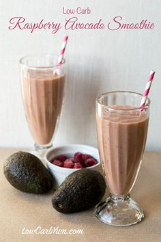 A dairy free low carb raspberry avocado smoothie that's sure to be loved by all. So delicious, the kids will never know it has healthy avocado in it.