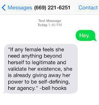 bell hooks hotline. For those guys that just won't stop bugging you to give them your number.
