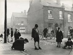 """pisceo: indypendent-thinking: """"Street Scene, Leeds"""" // London street life, Photographs by Roger Mayne. (via Roger Mayne) London History, British History, Asian History, Tudor History, Vintage London, Old London, Victorian London, Old Pictures, Old Photos"""