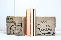 These heavy, rustic bookends feature the Stick Man characters