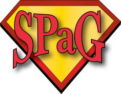 SPaGman logo - using on bookmarks, placemats & displays to try and make SPaG more engaging.