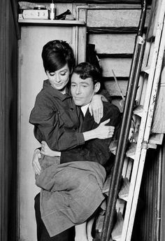 Audrey Hepburn and Peter O' Toole on the set of How to steal a million, 1966