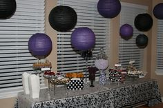 Purple and black themed adult birthday party. Cupcake and candy table. I like the lanterns from the ceiling. 75th Birthday Parties, 23rd Birthday, Birthday Party Tables, Adult Birthday Party, Birthday Decorations, Birthday Celebration, Purple Birthday, Purple Party, 30 Bday Ideas