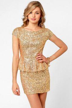 dd79b044ff cute dress for Christmas or New Years Vestido Champagne