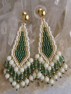 Seed Bead Earrings  Metallic Teal/Green/Cream by pattimacs on Etsy, $21.00