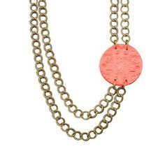 Vintage Floral Side Necklace - Coral