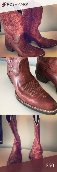 Red cowboy boots Genuine leather cowboy boots. Never worn Ariat Shoes Ankle Boots & Booties