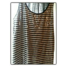 WOW! $5 Ladies Black & White w Clear Sequins Tank Stripe Black and White. Front Side is embellished with Shiny Clear Sequins. New York & Company Tops Tank Tops
