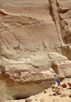 Hike to pictographs (paintings) and petroglyphs (drawings/engravings) on the walls.