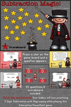 Ditch the worksheets and practice 3 Digit Subtraction with Regrouping the way kids want to practice! This interactive Powerpoint game is perfect to review subtraction skills.