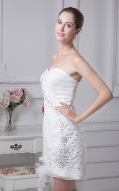 Casual Strapless Simple Ruffled Beading Tight Short Wedding Dress In