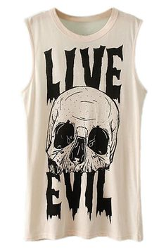 ROMWE Live Evil & Skull Print Sleeveless Vest | Tank top is the word you're looking for...