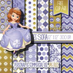 Princess Sofia the first Digital Paper Clipart by MagicPaperStore