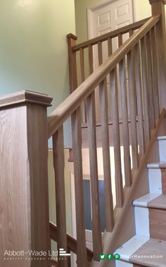Stop-Chamfered oak spindles Timber Staircase, New Staircase, Stair Handrail, Staircase Ideas, Railing Design, Staircase Design, Stair Renovation, Under Stairs, Stairs