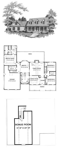 Cape Cod House Plan 58165 | Total Living Area: 2098 sq. ft., 3 bedrooms & 2 bathrooms. #capecod #houseplan