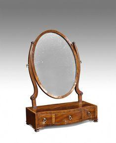 - George III mahogany toilet mirror, with good colour. Regency Furniture, Antique Bedroom Furniture, Georgian Furniture, Antique Bedside Tables, Antique Mirrors, Cheap Furniture Online, Furniture Outlet, Makeup Storage Trays, Alpine Furniture