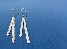 Items similar to Hammered Silver Dangle Earrings Long - Solid Fine Silver Gift for Her - Bridesmaid Gift - Handcrafted Silver Jewelry on Etsy Silver Jewelry, Unique Jewelry, Hammered Silver, Bridesmaid Gifts, Dangle Earrings, Gifts For Her, Dangles, Etsy Shop, Trending Outfits