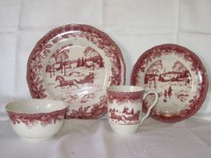 some day would like to have these dishes for 10 or 12 setting ... reminds of a very dear friend antique set in deep rose print we had each Christmas 222 FIFTH POINSETTIA TOILE CHRISTMAS HOLIDAY SLEIGH WINTER 16 PC DINNERWARE SET