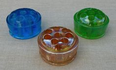 Three Multi-color glass flower frogs